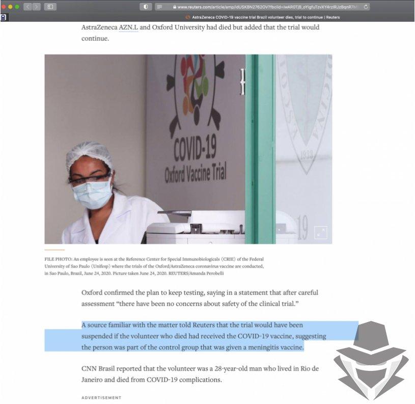 Asmuo buvo iš PLACEBO kontrolinės grupės, kuri buvo skiepyta meningito vakcina
