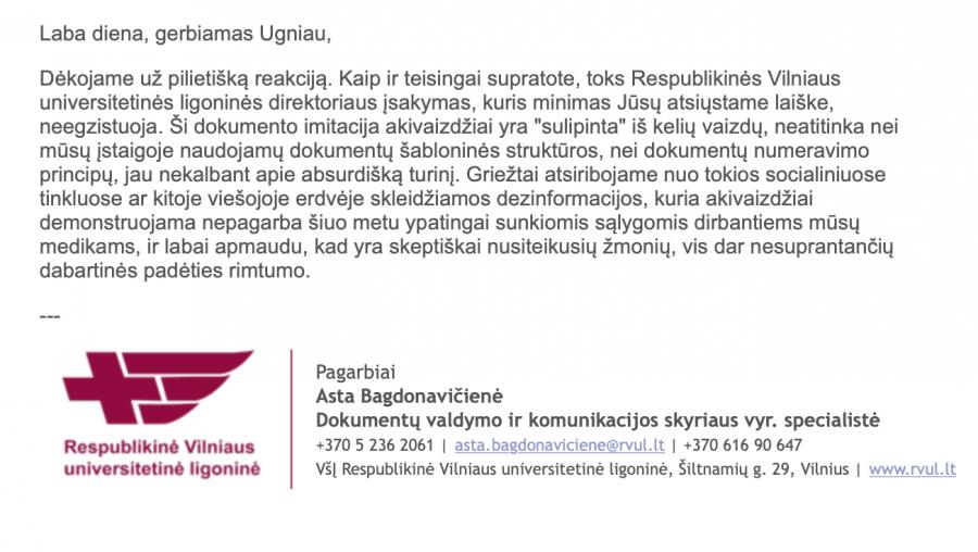 Respublikinės Vilniaus Universitetinės ligoninės komentaras
